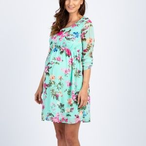 Mint Floral Maternity Dress by Pink Blush - Large